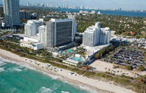 aerial view of Eden Roc beachfront resort